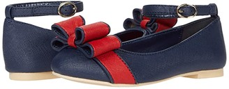 Janie and Jack Contrast Bow Flat (Toddler/Little Kid/Big Kid) (Navy) Girl's Shoes