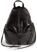 Rebecca Minkoff Medium Julian Croc Embossed Backpack - Black