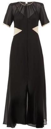 BEIGE Loretta Caponi - Lili Satin-trimmed Silk-georgette Dress - Womens - Black