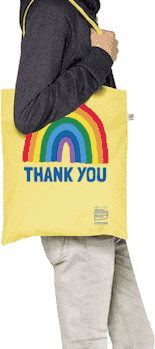Little Mistress x Kindred Rainbow Thank You NHS Rainbow Buttercup Yellow Tote Bag
