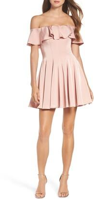 La Femme Ruffle Off the Shoulder Fit & Flare Dress