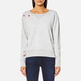 Maison Scotch Women's Loose Fit Heart Sweatshirt Grey Melange