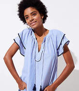 LOFT Stripe Layered Cuff Tassel Top