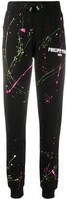 Philipp Plein Paint Splatter Logo Print Track Pants