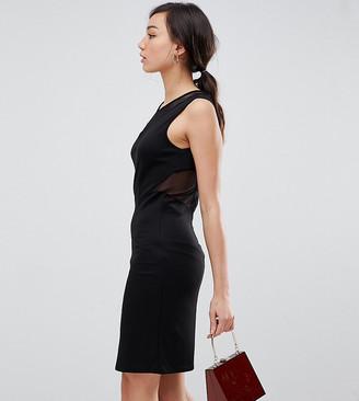 YAS TALL velvet bodycon mini dress with mesh panels