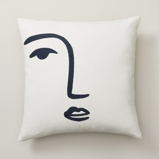 """Oui Line Drawn Pillow Cover Face 18"""" X 18"""""""