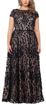 Xscape Evenings Plus Size 3D-Flower Gown
