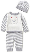 Wendy Bellissimo Baby Boys 3-9 Months Bear-Face-Appliqued Top, Striped Pants, and Hat Set
