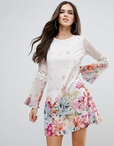 Lipsy Bell Sleeve Floral Border Print Dress
