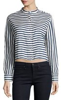 Rag & Bone Leeds Button-Front Cropped Shirt, Stripe