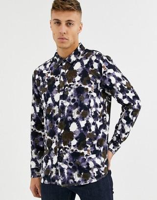 NATIVE YOUTH abstract printed shirt-Navy