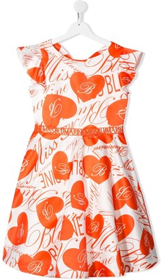 Miss Blumarine TEEN heart-print flared dress