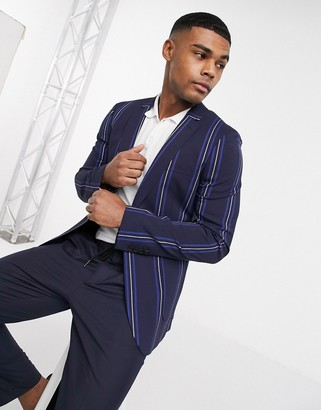 ASOS DESIGN super skinny blazer with navy stripe