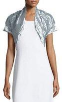 Nicole Miller Short-Sleeve Metallic Shrug, Light Aqua