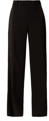 Bottega Veneta Straight-leg Silk-trim Wool-twill Trousers - Black