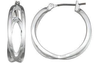 Dana Buchman Silver Tons Small Crisscross Hoop Earrings