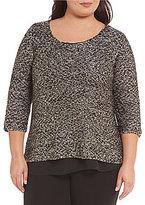 Gibson & Latimer Plus Round Neck 3/4 Sleeve Sequin Sweater