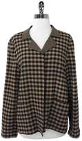 Ellen Tracy Plaid Wool Blend Open Front Jacket