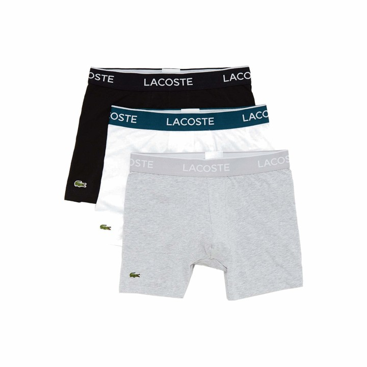Lacoste Mens Pack Of 3 Stretch Cotton Elastic waist Casual Briefs Briefs