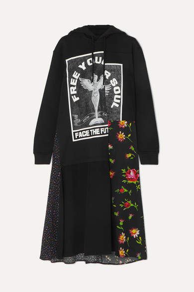 McQ Hooded Printed Cotton-jersey And Crepe Midi Dress - Black