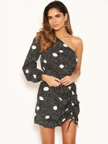 AX Paris Petite Polka Dot One Sleeve Dress - Black