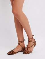 Charlotte Russe Leopard Lace-Up Pointed Toe Flats