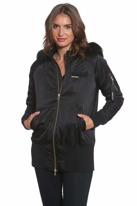 Members Only Women's Faux Fur Hooded Bomber Jacket