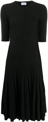 Salvatore Ferragamo Pleated Short-Sleeve Midi Dress