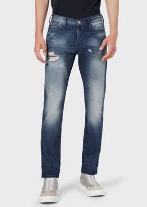 Emporio Armani Slim-Fit J06 Denim Jeans With Worn Details