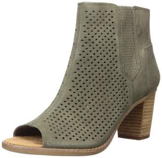 Toms Women's Majorca Peep Toe Mid Calf Boot Forged Iron Grey Suede Perforated Leaf 6.5 Medium US