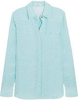 Altuzarra Chika Gingham Crepe Shirt - Light blue