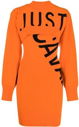 Just Cavalli Logo Intarsia Knitted Dress