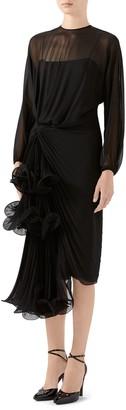 Gucci Draped Silk Georgette Long Sleeve Midi Dress