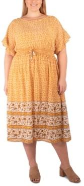 NY Collection Plus Size Border-Print Midi Dress