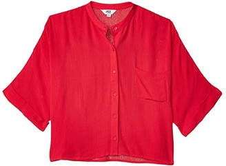 BB Dakota Crinkle Rayon Button Front Dolman (Hibiscus) Women's Clothing