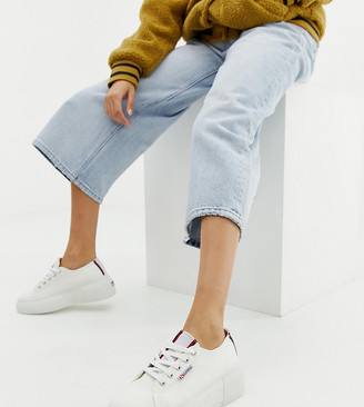 Superga 2297 exclusive white chunky trainers with stripe webbing
