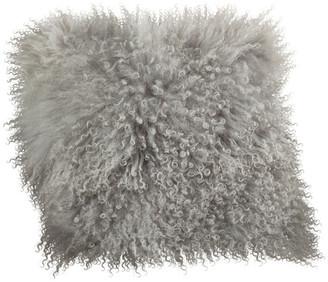 "Saro Lifestyle Mongolian Lamb Fur Poly Filled Throw Pillow, Fog, 16""x16"""