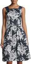 Carolina Herrera Lace-Print Gazer Party Dress, Open Blue