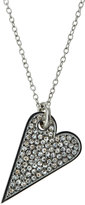 Rebecca Minkoff Rhodium-Tone Crystal Heart Pendant Necklace