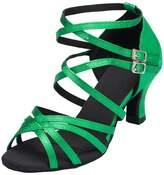 Minitoo Women's TH121 Cross Strap Kitten Heel Satin Wedding Ballroom Latin Taogo Dance Sandals