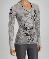 Rebel Spirit Silver Heather 'A Royal Way of Life' Hooded Henley