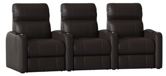 Latitude Run Home Theater Row Seating (Row of 3 Body Fabric: Smartsuede Sand, Reclining Type: Manual
