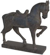 Home Decorators Collection 14.5 in. Antique Black Decorative Trotting Horse Figurine