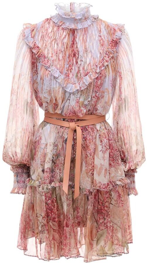 Zimmermann Botanica Printed Chiffon Mini Dress