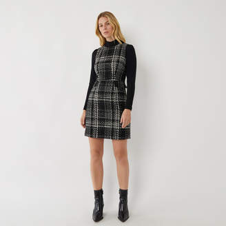 Warehouse CHECK SPARKLE TWEED DRESS