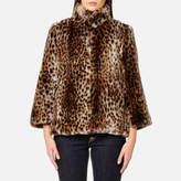 MICHAEL Michael Kors Women's Leopard Print Faux Fur Coat Leopard Print Fur