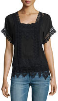 Johnny Was Short-Sleeve Lace-Inset Top