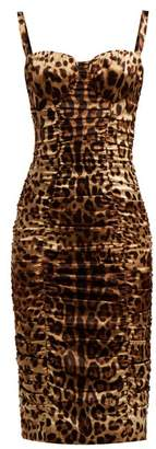 Dolce & Gabbana Bustier Leopard Print Silk Blend Satin Midi Dress - Womens - Leopard