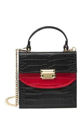 Persaman New York Kathleen Croc Embossed Leather Satchel