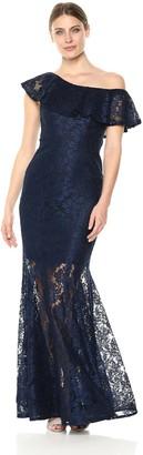 Xscape Evenings Women's Long One Shoulder Lace Dress